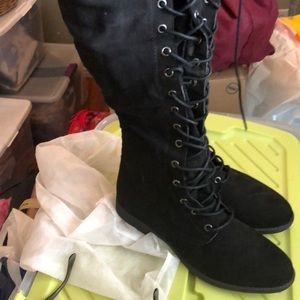 Super cute new black lace up thigh boots